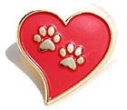 Paw Prints on my Heart goldtone pin